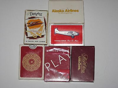 Lot Of 6 Decks Vintage Airlines Playing Cards Malaysia Delta American US Air