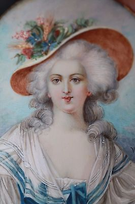 Period miniature Portrait of Mme Elisabeth Louis XVI Sister in Bronze Frame