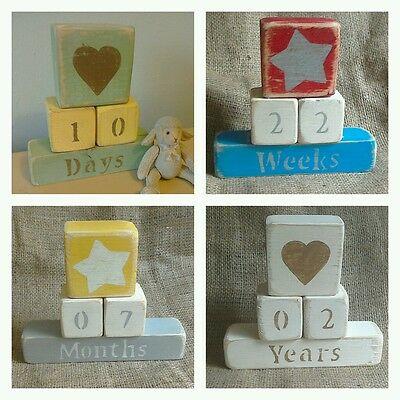 Shabby Chic / Rustic Wood Perpetual Baby Age Blocks - personalised colours
