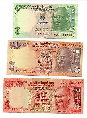 INDIA  5 / 10 and 20 Rupees - Set of 3 Crisp UNC  Banknotes
