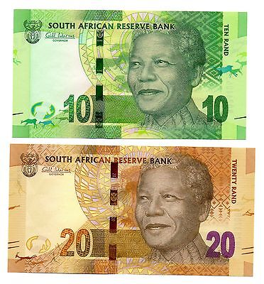 SOUTH AFRICA 10 and 20 Rand  - Set of 2 Crisp UNC Banknotes