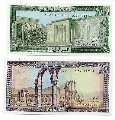 LEBANON 5 and 10 Livres [1986] - Set of 2 Crisp UNC banknotes