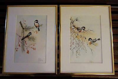 2 Beautiful CHICKADEE Hand Painted WATERCOLOR FRAMED PICTURES    Artist Signed