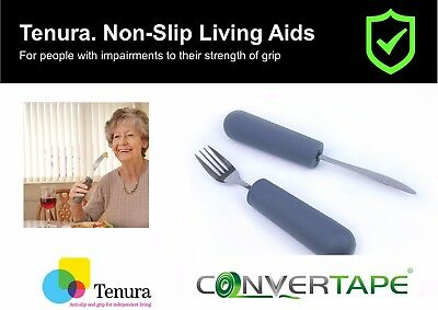 Tenura Anti-Slip Cutlery Grips Knife Fork Spoon Pen Pencil Toothbrush Stationary