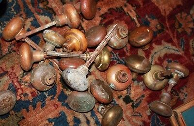 matching 22 brass plain door knobs Colonial revival 1920's
