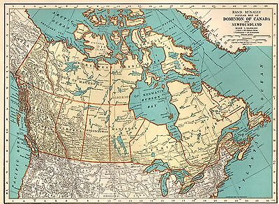 1937 Vintage MAP of CANADA  Beautiful Antique 1930's Canada Map 3417