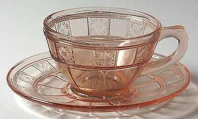Jeannette Glass DORIC PINK Cup & Saucer 2305328