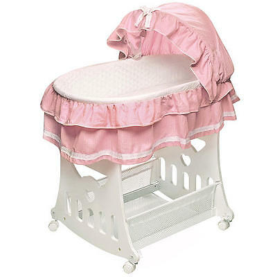Badger Basket Portable Bassinet 'n Cradle with Toybox - Pink Waffle Ruffled