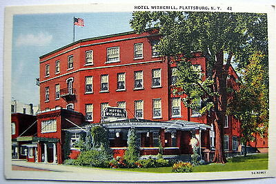 Hotel Witherill, Plattsburg, Ny Vintage Linen Postcard