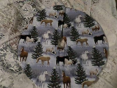 "22"" Christmas Tree Skirt Table top Horses in the snow sheep  Custom made 4 you"
