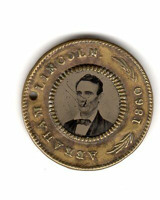 President Abraham Lincoln Hannibal Hamlin 1860 Ferrotype Campaign Button