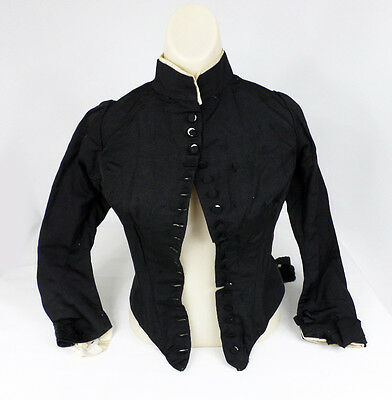 True Antique Victorian Black Mourning Taille Suit Jacket for Dress w Boning