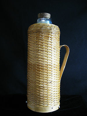 1950's Wicker Thermos Glass Liner Cork Stopper  PICNIC READY 1 Quart COFFEE TEA