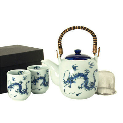3 PSC.Tea Set Porcelain RYU Blue Dragon Pattern W/Tea Strainer /Made in Japan