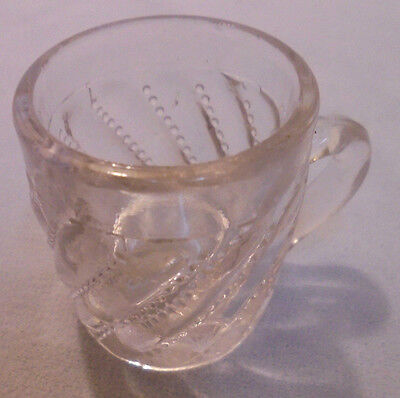 "Children's Pattern Glass Play Mug Swirls Beads Clear 1.75"" Tall 1.5"" Top Vintage"