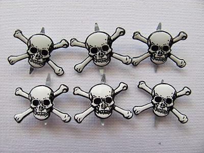 BB BRADS SKULL & CROSSBONE pk of 6 pirate scrapbooking split pin