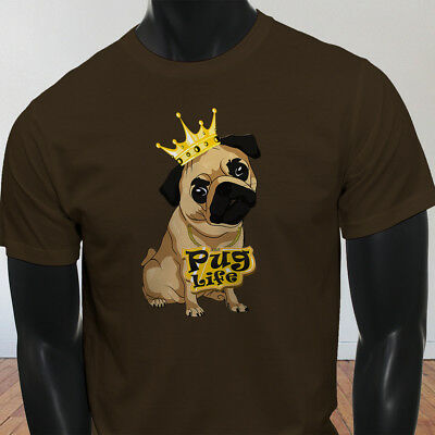 Funny Crown Dog Lovers Animal Cute Pug Life Cartoon Mens Brown T-Shirt