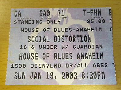 2003 Social Distortion Anaheim Concert Ticket Stub Ball And Chain Mike Ness Punk