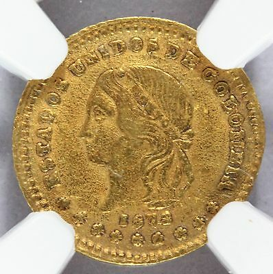 1873/2 Colombia 1 One Peso Gold Coin - NGC AU 58 - KM# 157.1 - RARE