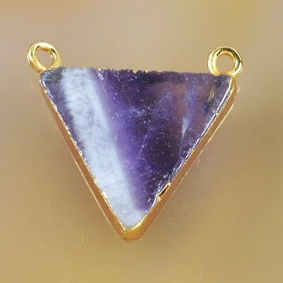 Triangle Natural Amethyst Connector Gold Plated B031637