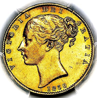 1859 Queen Victoria Great Britain London Gold Ansell Sovereign PCGS AU55