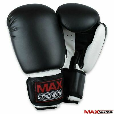 Black Boxing Punch Bag Gloves Rex Leather Gym Kick Fight Training PVC Mitts MMA