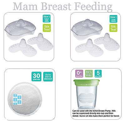 Mam Breast Feeding (Milk Storage/ Nipple Shields size 1/Size 2/ Breast Pad)