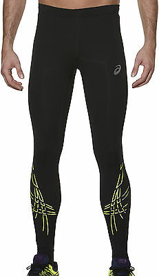 Asics Tiger Stripe Mens Long Compression Running Training Sports Tights - Black