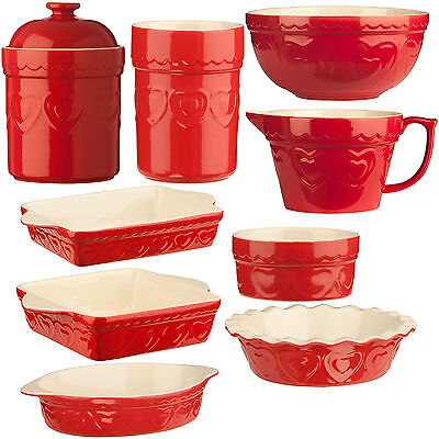 Red Sweetheart Kitchen Stoneware Baking Pie Dish Basting Jug Storage Containers