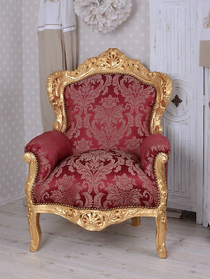 Noble Armchair Chaise Baroque Romantic Style Red Rococo