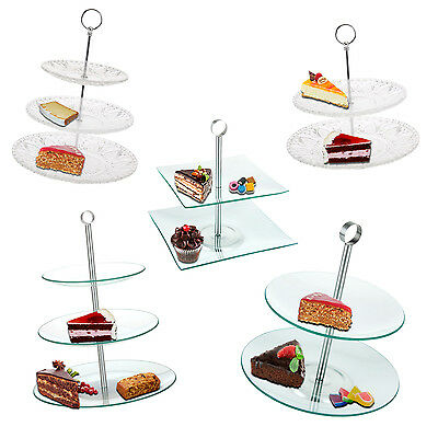 2 3 Tier Glass Round Square Cake Stand Serving Tea Display Food Wedding Plate