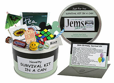 50th BIRTHDAY SURVIVAL KIT IN A CAN Gift Ideas Card For Him Her