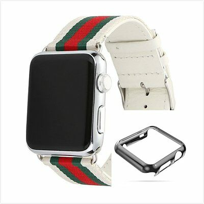 Stripes White Mix Colour Woven Wrist Band For Apple Watch 38mm Full Black Case