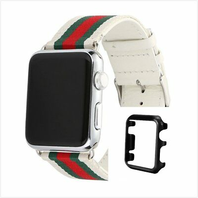 Stripes White Mix Colour Woven Wrist Band For Apple Watch 38mm Black Case x 1