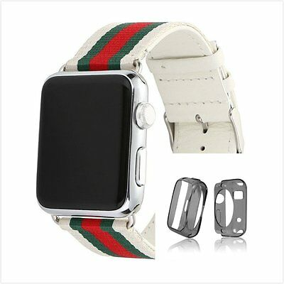Stripes White Mix Colour Woven Wrist Band For Apple Watch 38mm Clear Case x 1