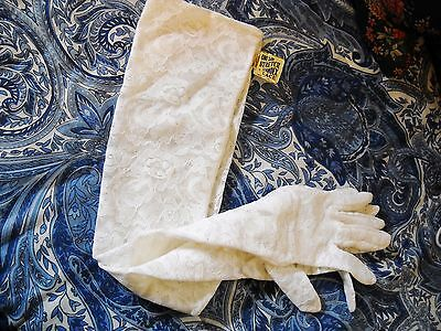 Very Long Lacy White Stretch Spandex Opera Gloves: Vintage W/tag Attached