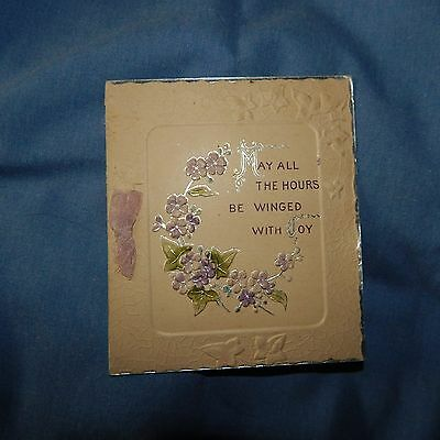 Vintage Birthday Card, Unmarked, Circa 1930's or earlier, Embossed Violets