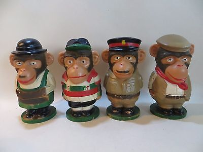PG TIPS 4x EGG CUPS. SERGEANT CHIMP/MR SHIFTER/CYRIL THE CYCLIST/NAVVY. 1970's.