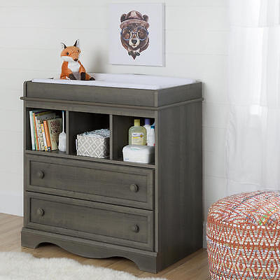 South Shore Furniture Savannah Changing Table with Drawers - Gray Maple