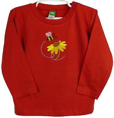 Bee Baby Shirt 3T Toddler Long Sleeve Red Buzzing Bumble Bug & Flower Monogram