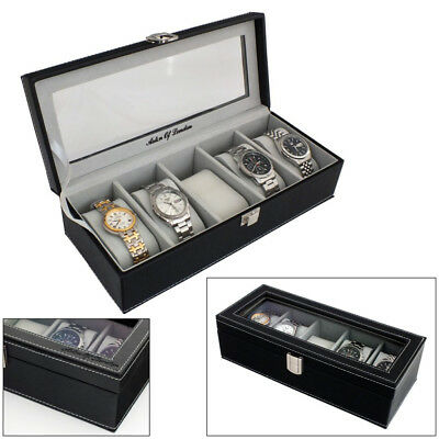 Aston Of London® Mens Black Pu Leather 5 Watch Storage & Display Case Watchbox