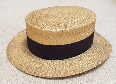 Antique Vintage 1910's Woven Straw Boater Hat - Townend & Co of London