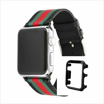 Stripes Black Mix Colour Woven Wrist Band For Apple Watch 38mm Black Case x 1