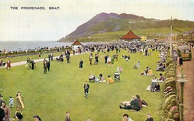 Vintage Postcard Promenade Bray People Crowds Parked Coach