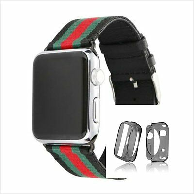 Stripes Black Mix Colour Woven Wrist Band For  Apple Watch 42mm Clear Case x 1