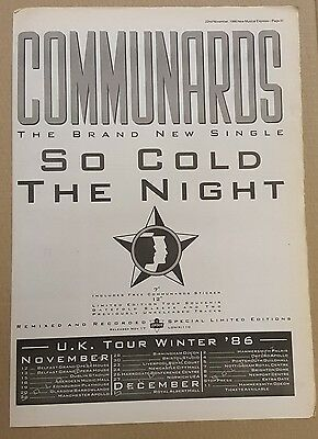 Communards So cold the night 1986 press advert Full page 30 x 41cm mini poster