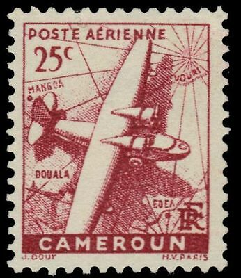 "CAMEROUN C15 (Mi161) - Plane over Map ""Airmail"" with RF (pa74591)"