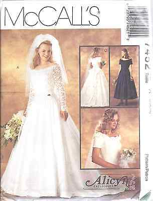 MCCALLS 7452 MISSES Alicyn Bridal Wedding Gown Dress sewing pattern ...