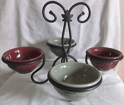Longaberger Wrought Iron Buffet Server / Stand / Caddy With 4 Relish Bowls