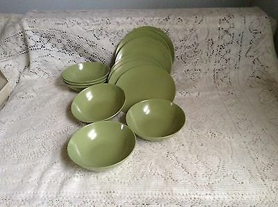 Nice Vintage Lot, 14 Pieces Olive Green Texas Ware, 8 B&b Plates,6 Fruit Bowls.